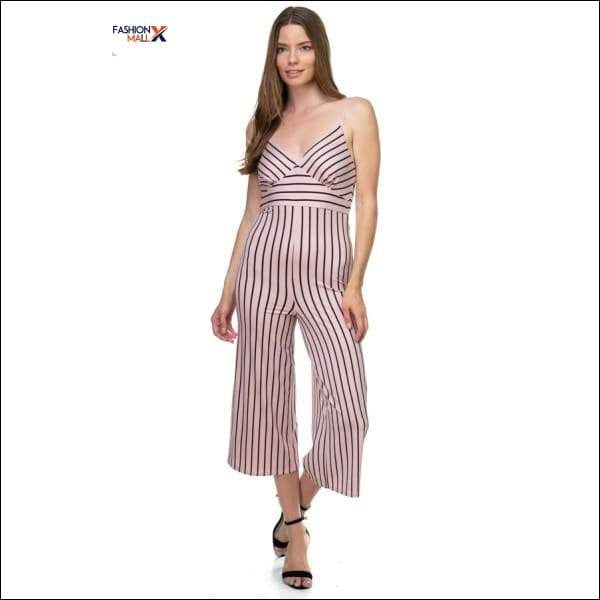 Stripe Sleeveless Jumpsuit