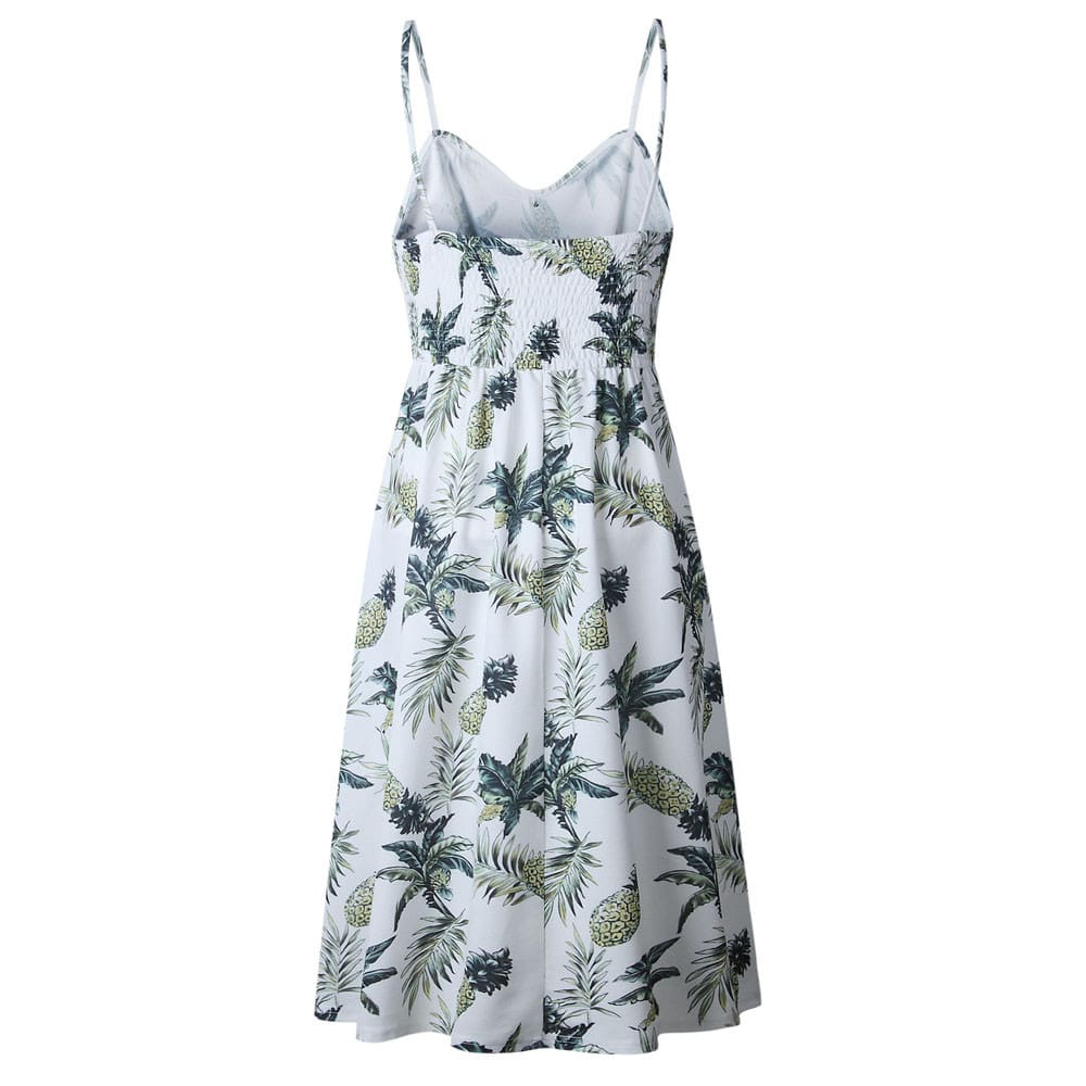 Women Sexy Printing Buttons Off Shoulder Sleeveless Dress