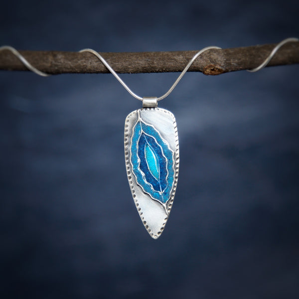 turquoise and lapis inlay silver necklace