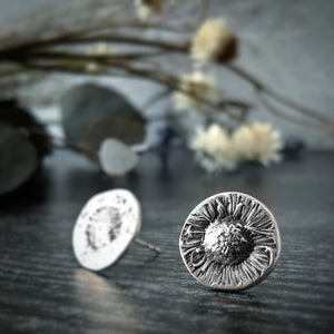 Silver Chamomile Flower Studs