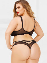 Load image into Gallery viewer, Curve Size Lace Panel Sheer Top Lingerie Set
