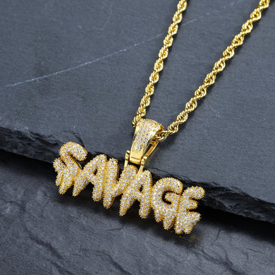SAVAGE Print Necklace with Diamond Cut Chain