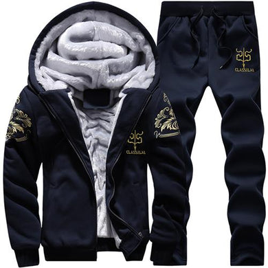 Winter Fleece Hood Tracksuit Set Jacket+Pants Sweaters