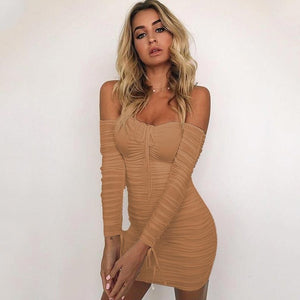 Off Shoulder Long Sleeve Slim  Elastic Casual Dress
