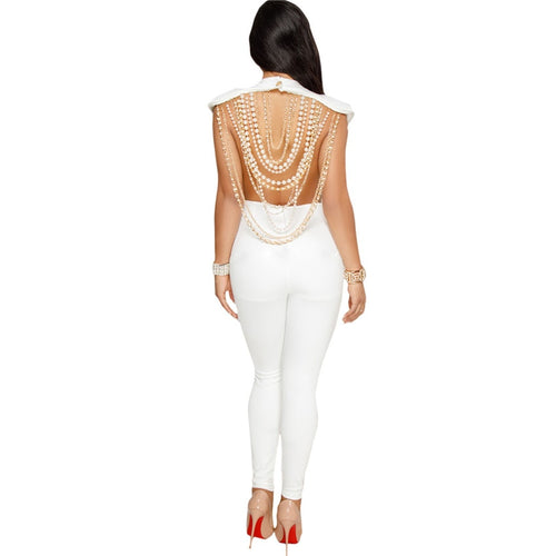 Pearl Chain Backless Jumpsuit