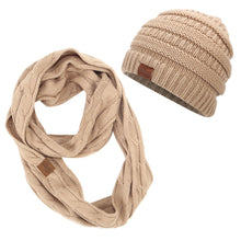 Load image into Gallery viewer, ponytail beanies & scarf sets