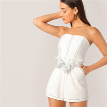 Load image into Gallery viewer, Contrast Stitch Frill Trim Belted White Rompers