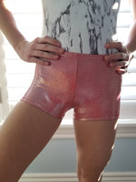 red sparkle chimmery gymnastic shorts