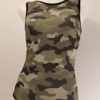 camouflage gymnastic leotard crisscross back