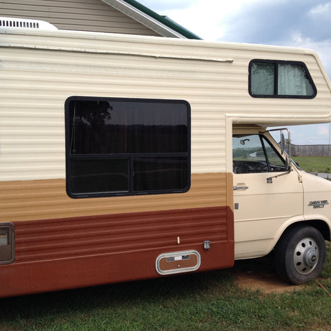 RV coated and sealed with Durabak bed Liner Brown, Tan and Cream Bedliner