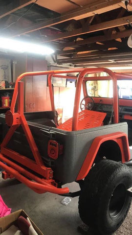 Orange Dark Grey Durabak Bed Lined Jeep