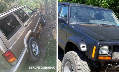 Black bedlined Jeep Cherokee before after