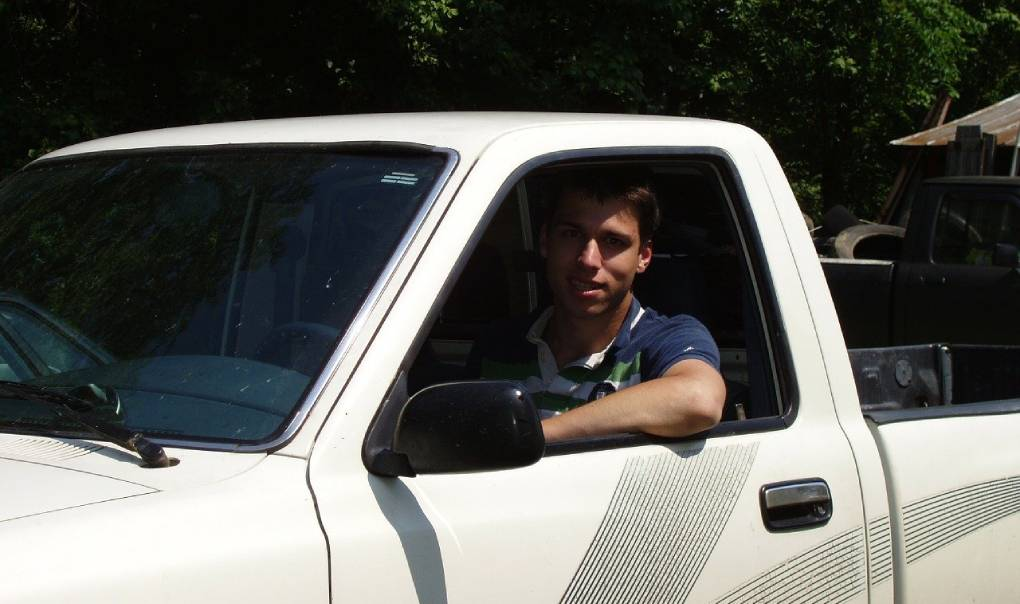 Man Driving Truck with Truck Tool Box