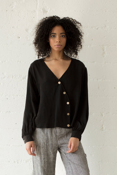 Asymmetric Button-Up Blouse