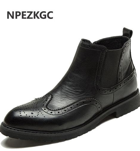 2020 Genuine Leather Boots Men Shoes Motorcycle Boot Winter Boot