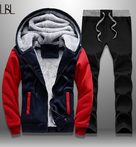 2 PIECES MEN WINTER ZIPPER THICK FLEECE JACKETS + PANTS TRACKSUIT CASUAL STYLE HOODED PULLOVER LONG SLEEVE ONECK DRAWSTRING/ WON'T BE BEAT/ FREE SHIPPING/URPOSTURE.COM