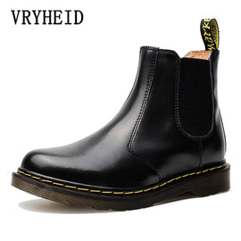 Men Women Rain Boots Slip-on Genuine Leather Waterproof Ankle Boots