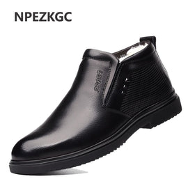 2020 Men work Leather Boots  Winter Warm snow boots Genuine Leather