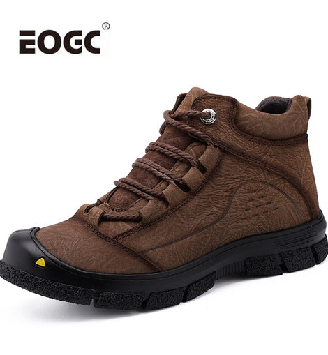 Men Leather Boots Handmade Snow  Winter Shoes