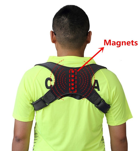 Buy Magnetic Therapy Back Brace Posture Corrector for Men and Women Under Clothes Back Pain Relief Shoulder Support Belt