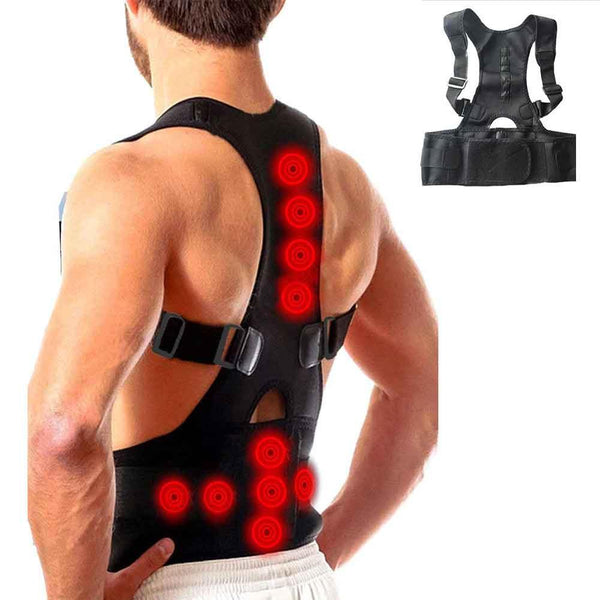 Back Brace Posture Corrector,Magnetic Therapy Improves Posture and Provides Lumbar Support for Lower and Upper Back Pain with Adjustable Soft Elastic Shoulder Straps Men and Women