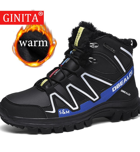 2020 Winter Sneakers Men Fully Fur Lined Snow Boots Outdoor Sport Shoes