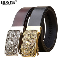 Men's Belts Dragon Buckle Belt  Cowskin Genuine Luxury Leather  Metal Automatic Buckle