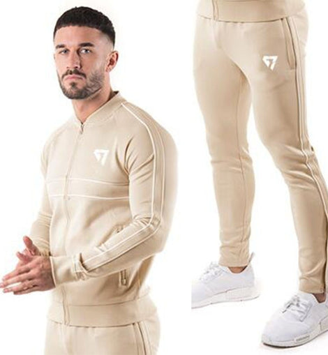 2 Pieces Men Tracksuit Full Sleeve Zipper Closure Elastic Waist O Neck Casual Style/ WON'T BE BEAT/ FREE SHIPPING/URPOSTURE.COM