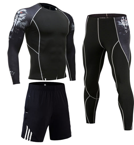 Thermal Underwear Set Men winter long johns base layer Sport cycling underwear shirts mens leggings slim joggers suit running