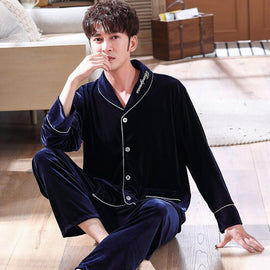 Men  2 pieces Velvet Sleepwear Nightwear Casual Sleep shirts Pajama men's sleep & lounge