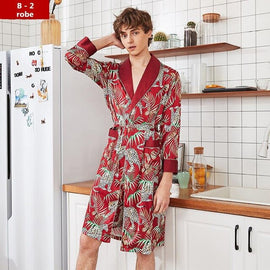 Men Silky Sleepwear Nightwear Casual men's sleep & lounge