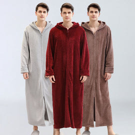 Men Winter hooded bathrobe men's nightgown men's sleep & lounge