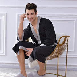 Men Three Quarter Bathrobe Night Wear men's sleep & lounge