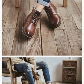 2020 Winter Snow Boots Men Ankle Lace-Up Handmade Leather Comfy Fur
