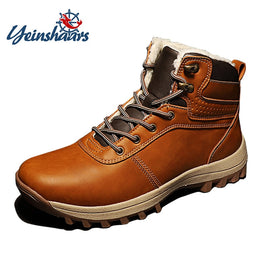 Men Winter Boots  Vintage Leather Boots  Warm Fur Shoes