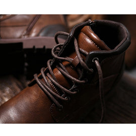 Men Casual Footwear Mens Boots Shoes Men Dress Ankle Boots Lace Up Zipper