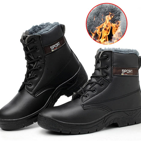 Men Winter Boots Plush Warm Work Safety Steel Toe  Ankle Boots
