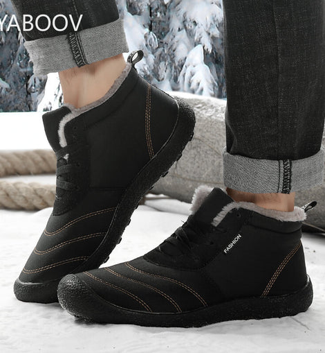 Men Winter Warm Ankle Boots Snow Boots Plush Winter Shoes  Sneakers