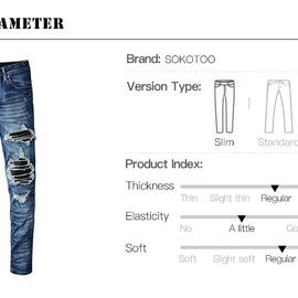 Patched Ripped Jeans Mens | Patched Jeans Mens
