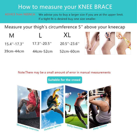 Perfect Silicone Knee Brace | Knee Brace Silicone 2020 | Knee Brace with soft and large Silicone Pad and a double-sided flexible metal stabilizer  How to measure size