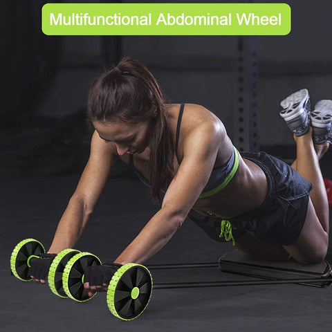 Ab Wheel Double Roller with Resistance Bands | ab roller wheels jump rope resistant bands | UrPosture.com