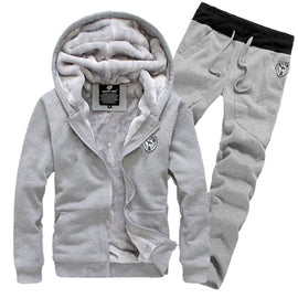 2 PIECES MEN WINTER THICK WARM ZIPPER HOODIES + PANTS FITNESS TRACKSUIT CASUAL STYLE HOODED LONG SLEEVE ONECK E/ WON'T BE BEAT/ FREE SHIPPING/URPOSTURE.COM