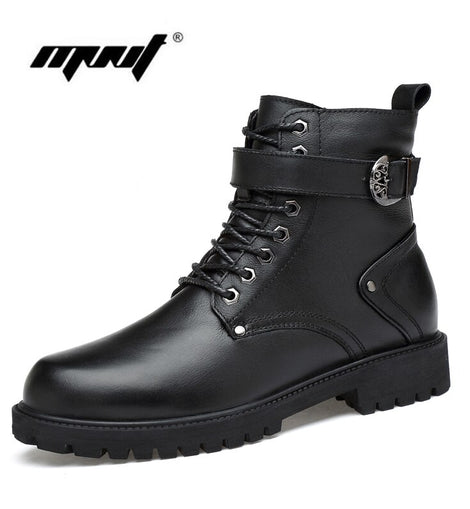 2020 Men Leather Winter Boots Lace Up Warm Fur Ankle Snow Boots Handmade Plus Size