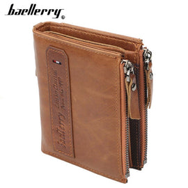 Men Wallets Genuine Cow Leather High-Quality Double Zipper Card Holder  Male Purse Vintage Coin Holder