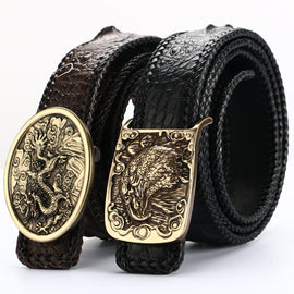 High-Quality Men Belt Pure copper buckle Crocodile leather Belts Luxury