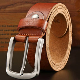 Belts for Men pronged buckle  genuine leather strap for jean wide brown color crazy horse