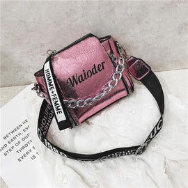 Ladies Letter Handbags Wide Strap Chains Shoulder Bag Women Crossbody Bags Bolsa 2020  Girls Small Purse