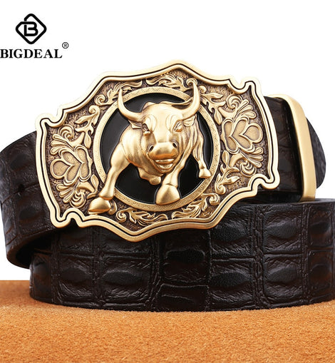 Luxury men belt high-quality genuine leather of cowskin copper