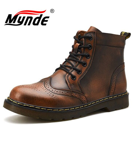 Men's Boots Winter Genuine Leather Ankle Boots Waterproof Snow Boots Motorcycle Boots
