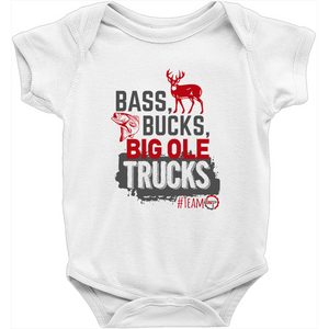 Bass, Bucks, and Big Ole' Trucks - Baby Onesies